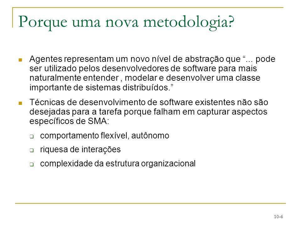 10-6 Porque uma nova metodologia? Agentes representam um novo nível de abstração que... pode ser utilizado pelos desenvolvedores de software para mais