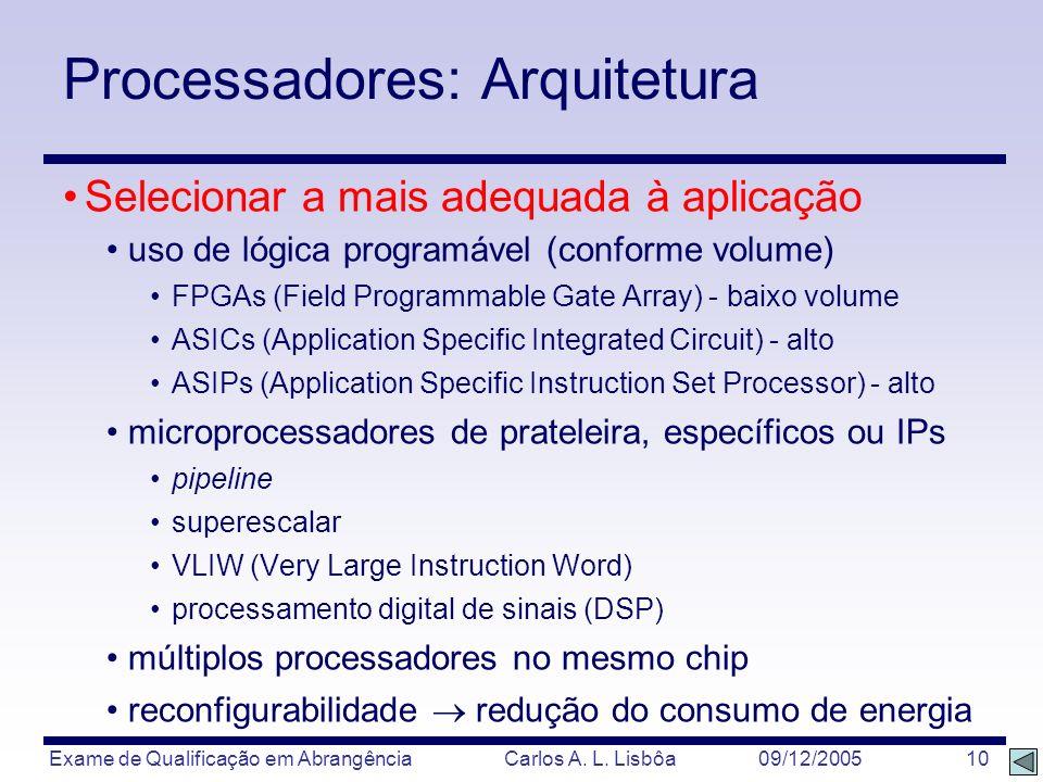 Exame de Qualificação em Abrangência Carlos A. L. Lisbôa 09/12/2005 10 Processadores: Arquitetura Selecionar a mais adequada à aplicação uso de lógica