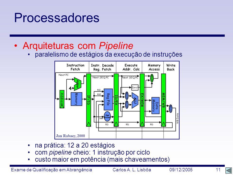 Exame de Qualificação em Abrangência Carlos A. L. Lisbôa 09/12/2005 11 Processadores Arquiteturas com Pipeline paralelismo de estágios da execução de