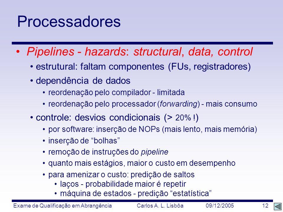 Exame de Qualificação em Abrangência Carlos A. L. Lisbôa 09/12/2005 12 Processadores Pipelines - hazards: structural, data, control estrutural: faltam