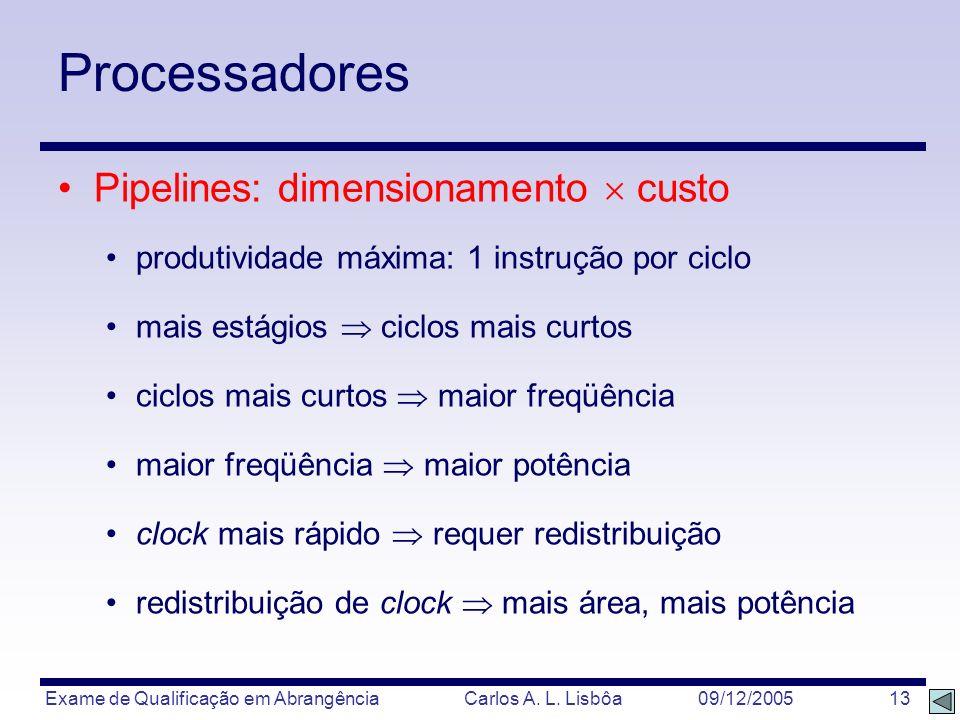 Exame de Qualificação em Abrangência Carlos A. L. Lisbôa 09/12/2005 13 Processadores Pipelines: dimensionamento custo produtividade máxima: 1 instruçã
