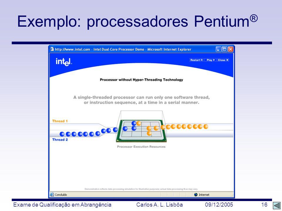 Exame de Qualificação em Abrangência Carlos A. L. Lisbôa 09/12/2005 16 Exemplo: processadores Pentium ®