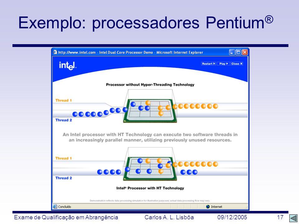 Exame de Qualificação em Abrangência Carlos A. L. Lisbôa 09/12/2005 17 Exemplo: processadores Pentium ®