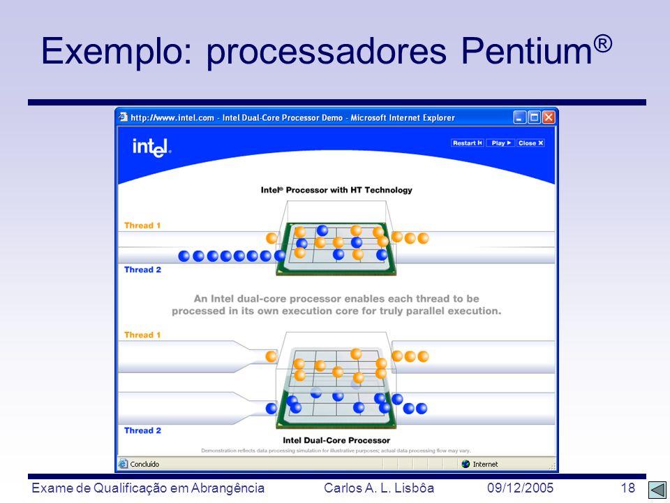 Exame de Qualificação em Abrangência Carlos A. L. Lisbôa 09/12/2005 18 Exemplo: processadores Pentium ®