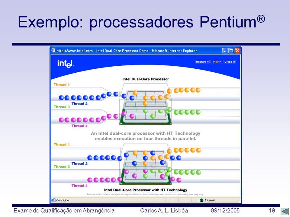 Exame de Qualificação em Abrangência Carlos A. L. Lisbôa 09/12/2005 19 Exemplo: processadores Pentium ®