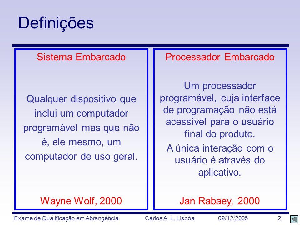 Exame de Qualificação em Abrangência Carlos A. L. Lisbôa 09/12/2005 2 Definições Sistema Embarcado Qualquer dispositivo que inclui um computador progr