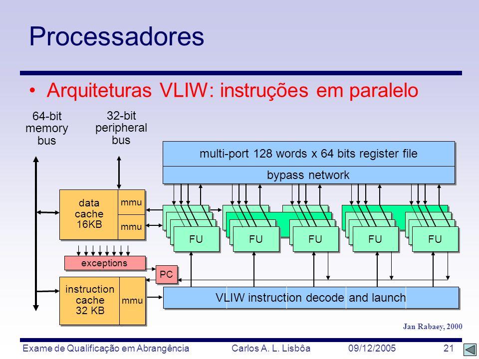 Exame de Qualificação em Abrangência Carlos A. L. Lisbôa 09/12/2005 21 Processadores Arquiteturas VLIW: instruções em paralelo data cache 16KB mmu 64-