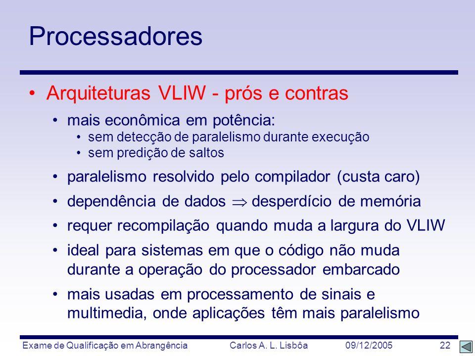 Exame de Qualificação em Abrangência Carlos A. L. Lisbôa 09/12/2005 22 Processadores Arquiteturas VLIW - prós e contras mais econômica em potência: se