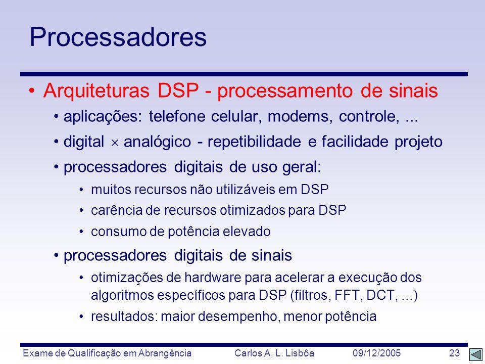Exame de Qualificação em Abrangência Carlos A. L. Lisbôa 09/12/2005 23 Processadores Arquiteturas DSP - processamento de sinais aplicações: telefone c