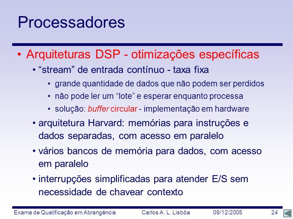 Exame de Qualificação em Abrangência Carlos A. L. Lisbôa 09/12/2005 24 Processadores Arquiteturas DSP - otimizações específicas stream de entrada cont
