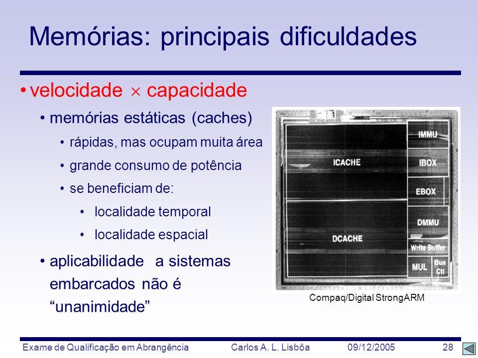 Exame de Qualificação em Abrangência Carlos A. L. Lisbôa 09/12/2005 28 Memórias: principais dificuldades velocidade capacidade memórias estáticas (cac