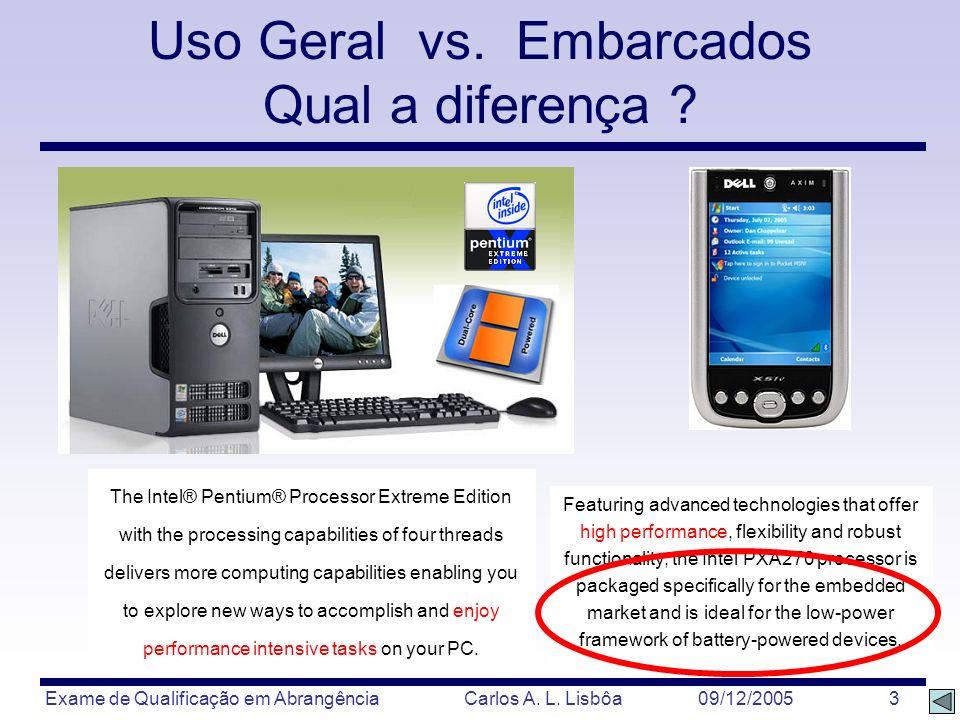 Exame de Qualificação em Abrangência Carlos A. L. Lisbôa 09/12/2005 3 The Intel® Pentium® Processor Extreme Edition with the processing capabilities o