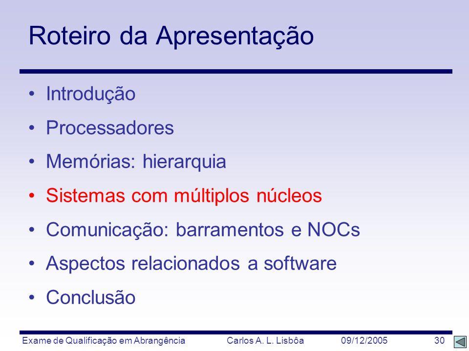 Exame de Qualificação em Abrangência Carlos A. L. Lisbôa 09/12/2005 30 Roteiro da Apresentação Introdução Processadores Memórias: hierarquia Sistemas