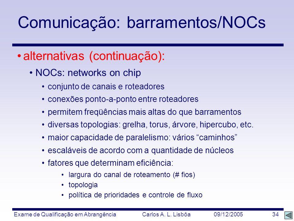 Exame de Qualificação em Abrangência Carlos A. L. Lisbôa 09/12/2005 34 alternativas (continuação): NOCs: networks on chip conjunto de canais e roteado