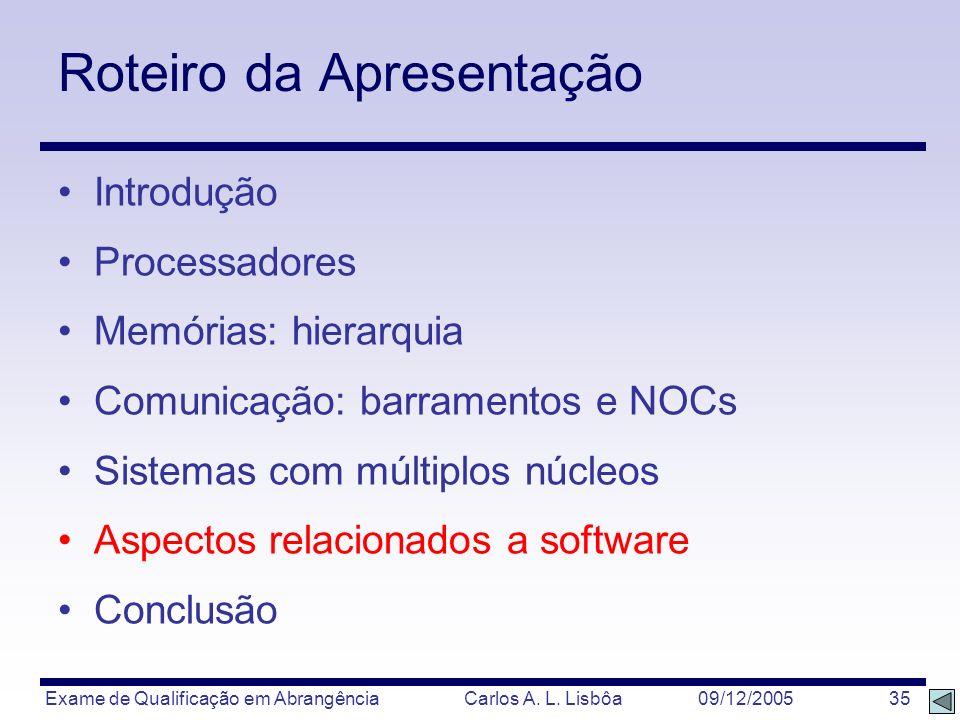 Exame de Qualificação em Abrangência Carlos A. L. Lisbôa 09/12/2005 35 Roteiro da Apresentação Introdução Processadores Memórias: hierarquia Comunicaç