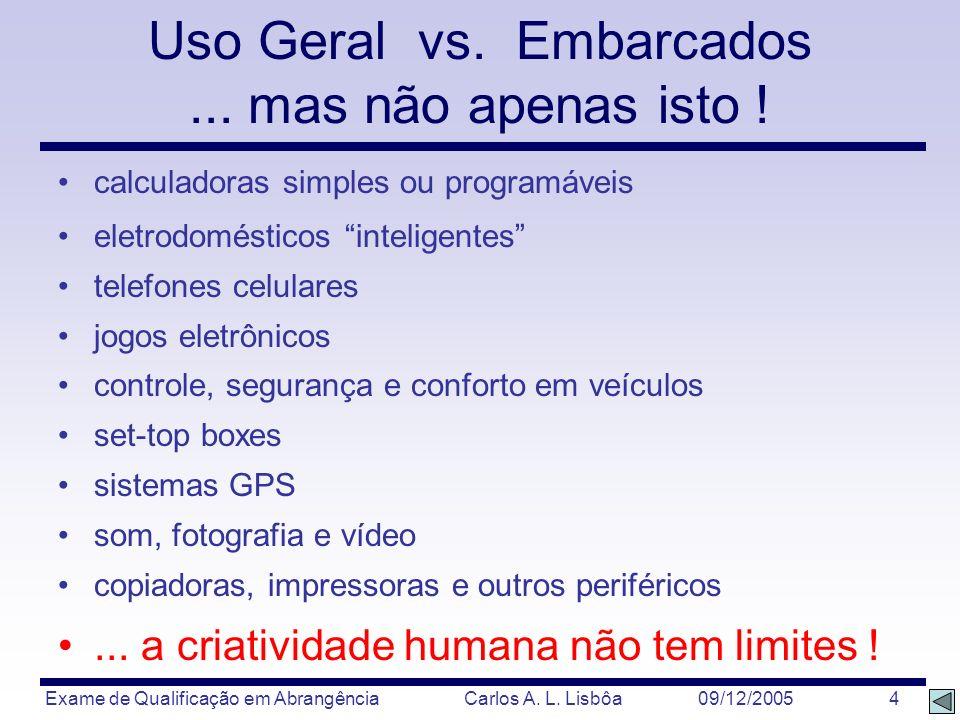 Exame de Qualificação em Abrangência Carlos A. L. Lisbôa 09/12/2005 4 calculadoras simples ou programáveis eletrodomésticos inteligentes telefones cel