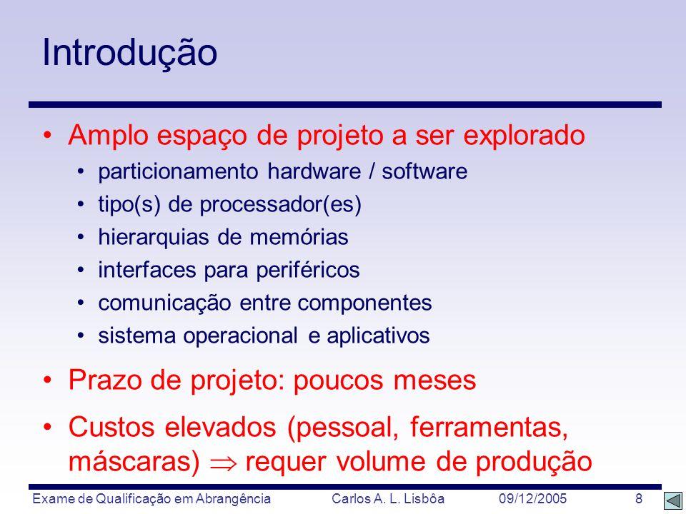 Exame de Qualificação em Abrangência Carlos A. L. Lisbôa 09/12/2005 8 Introdução Amplo espaço de projeto a ser explorado particionamento hardware / so
