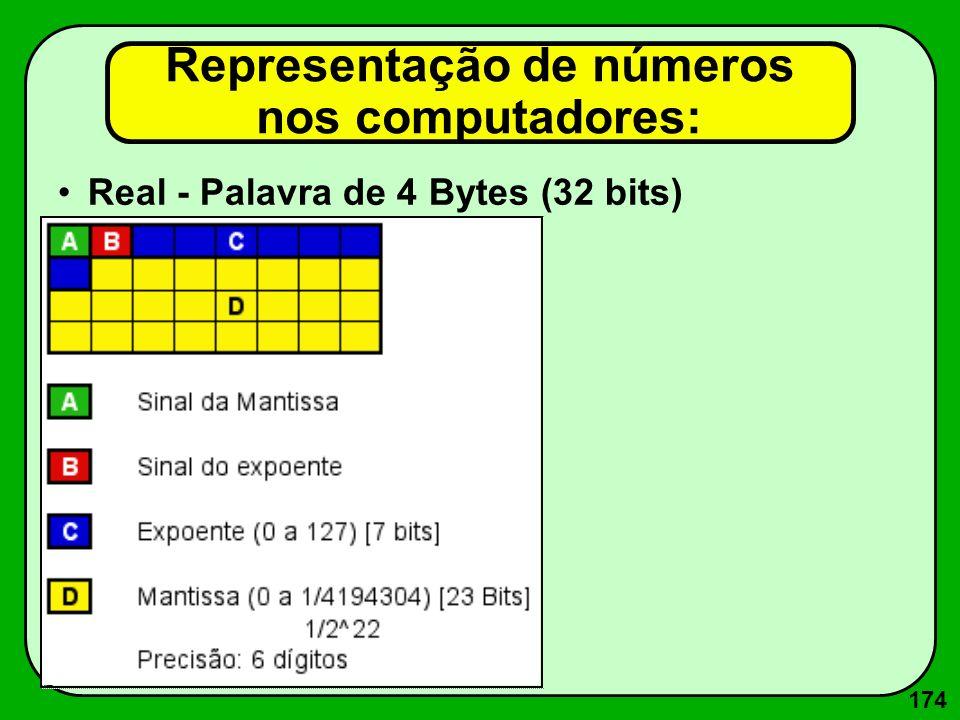 174 Real - Palavra de 4 Bytes (32 bits) Representação de números nos computadores: