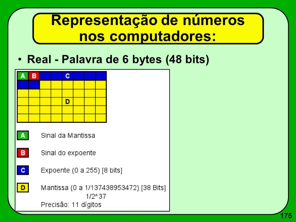 175 Real - Palavra de 6 bytes (48 bits) Representação de números nos computadores: