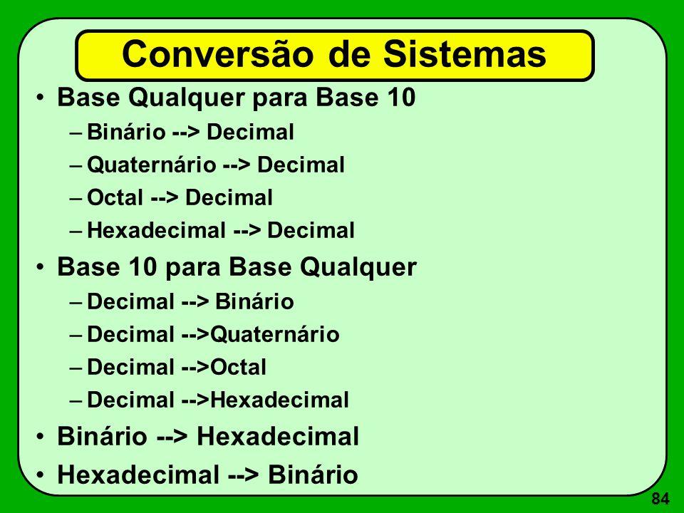 84 Conversão de Sistemas Base Qualquer para Base 10 –Binário --> Decimal –Quaternário --> Decimal –Octal --> Decimal –Hexadecimal --> Decimal Base 10