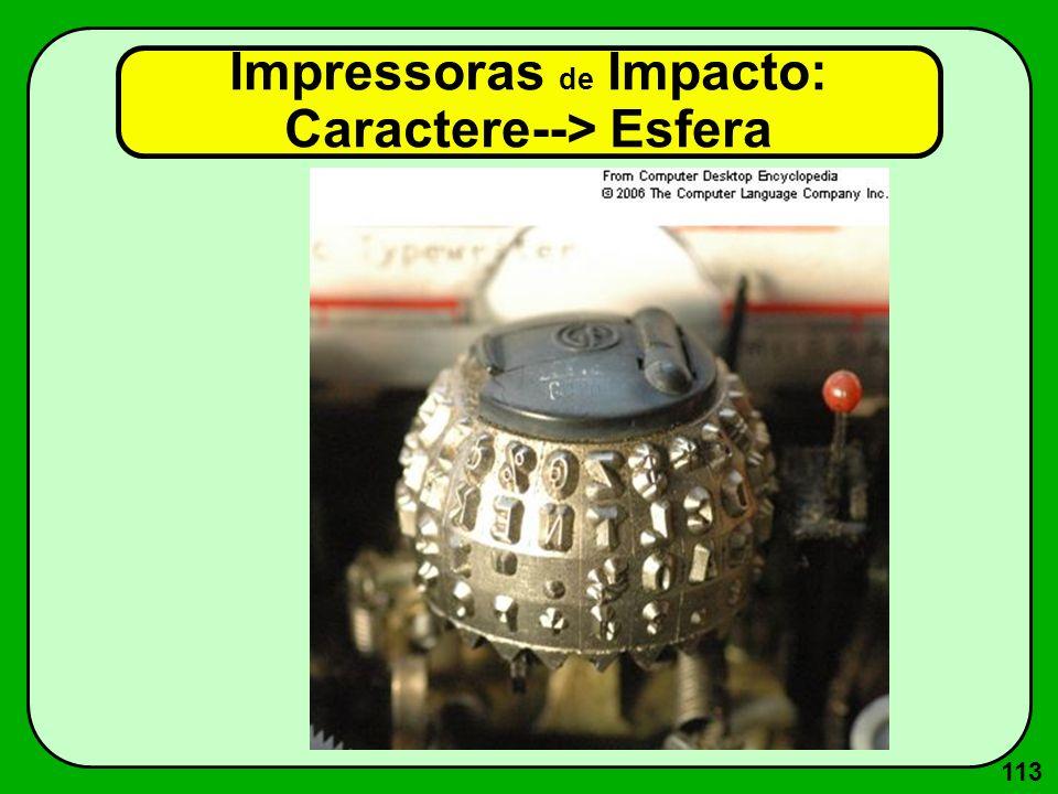 113 Impressoras de Impacto: Caractere--> Esfera