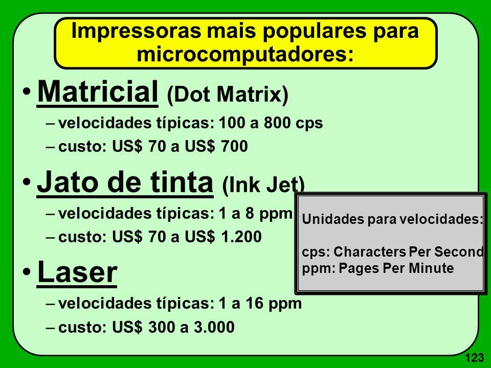 123 Impressoras mais populares para microcomputadores: Matricial (Dot Matrix) –velocidades típicas: 100 a 800 cps –custo: US$ 70 a US$ 700 Jato de tin