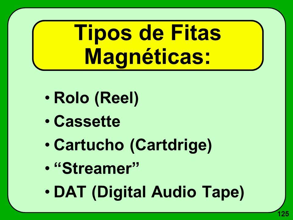 125 Tipos de Fitas Magnéticas: Rolo (Reel) Cassette Cartucho (Cartdrige) Streamer DAT (Digital Audio Tape)