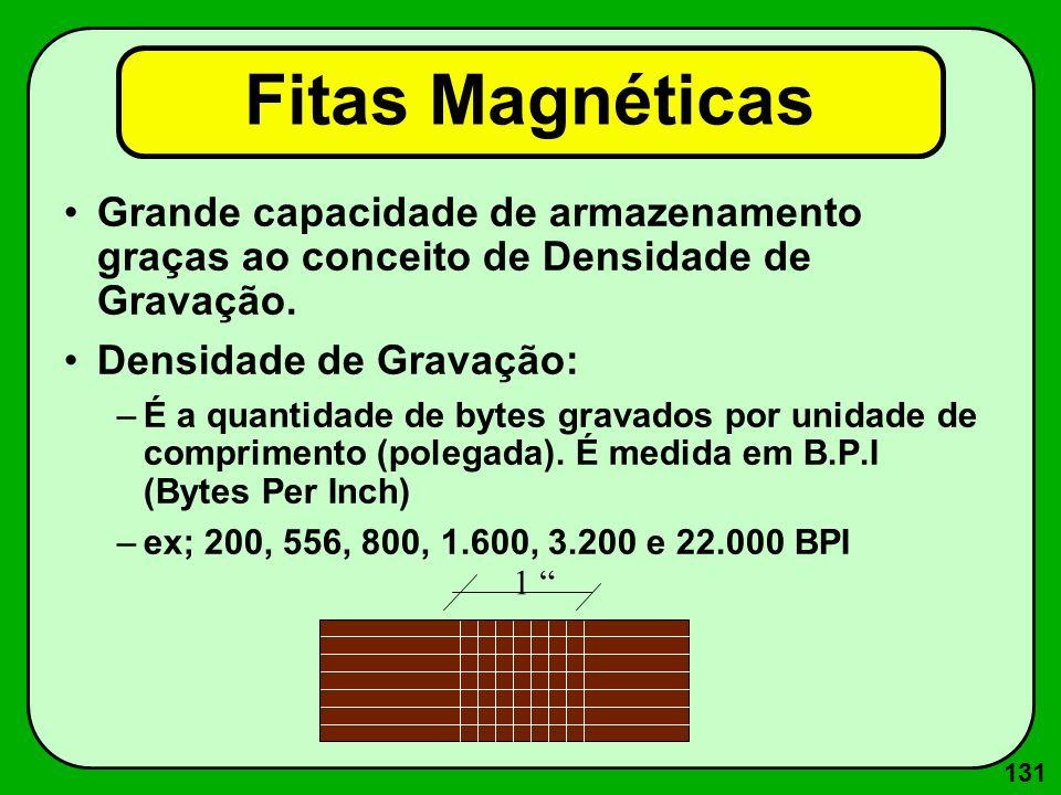 131 Fitas Magnéticas Grande capacidade de armazenamento graças ao conceito de Densidade de Gravação. Densidade de Gravação: –É a quantidade de bytes g
