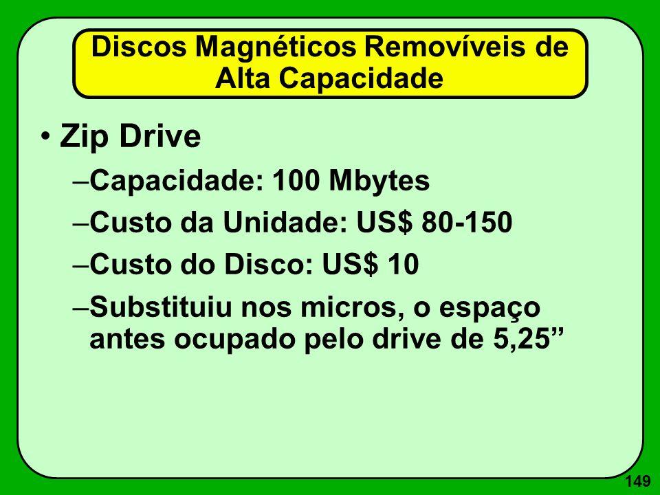 149 Discos Magnéticos Removíveis de Alta Capacidade Zip Drive –Capacidade: 100 Mbytes –Custo da Unidade: US$ 80-150 –Custo do Disco: US$ 10 –Substitui