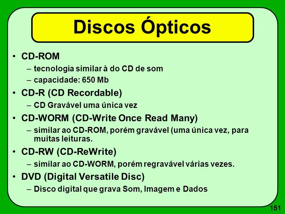 151 Discos Ópticos CD-ROM –tecnologia similar à do CD de som –capacidade: 650 Mb CD-R (CD Recordable) –CD Gravável uma única vez CD-WORM (CD-Write Onc