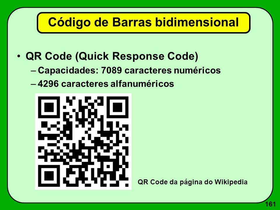 161 Código de Barras bidimensional QR Code (Quick Response Code) –Capacidades: 7089 caracteres numéricos –4296 caracteres alfanuméricos QR Code da pág