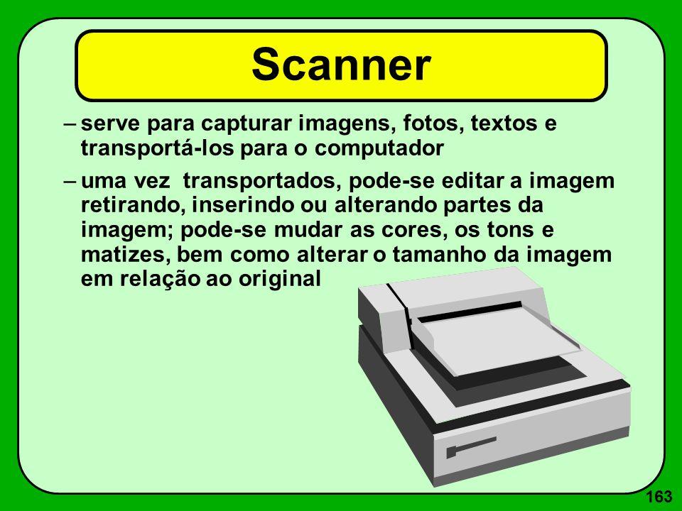 163 Scanner –serve para capturar imagens, fotos, textos e transportá-los para o computador –uma vez transportados, pode-se editar a imagem retirando,