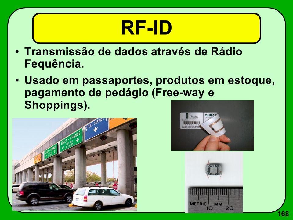 168 RF-ID Transmissão de dados através de Rádio Fequência. Usado em passaportes, produtos em estoque, pagamento de pedágio (Free-way e Shoppings).