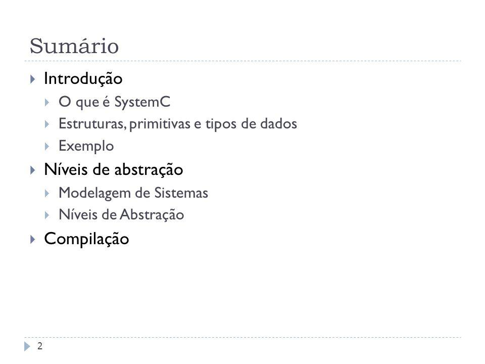 FEDERAL UNIVERSITY OF RIO GRANDE DO SUL Sumário 2 Introdução O que é SystemC Estruturas, primitivas e tipos de dados Exemplo Níveis de abstração Modelagem de Sistemas Níveis de Abstração Compilação