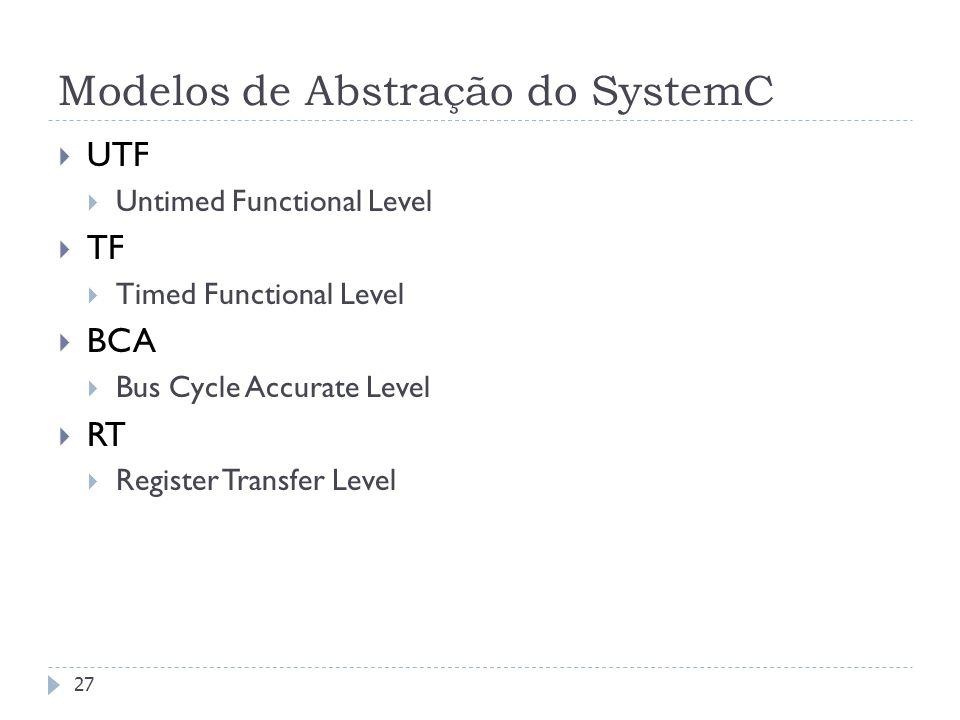 FEDERAL UNIVERSITY OF RIO GRANDE DO SUL Modelos de Abstração do SystemC 27 UTF Untimed Functional Level TF Timed Functional Level BCA Bus Cycle Accurate Level RT Register Transfer Level