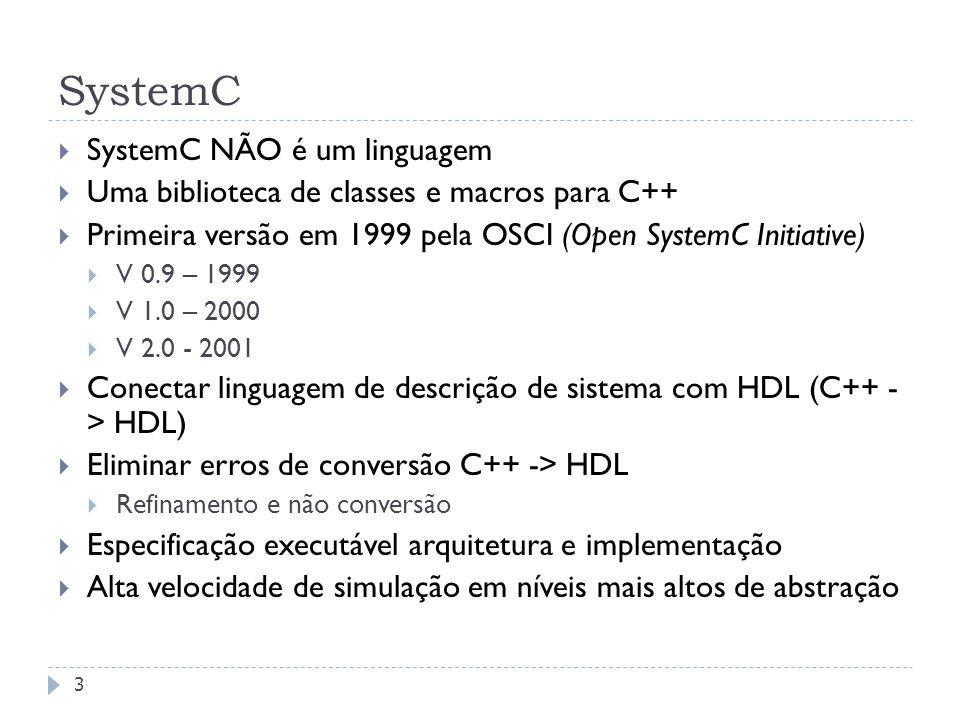 FEDERAL UNIVERSITY OF RIO GRANDE DO SUL SystemC 3 SystemC NÃO é um linguagem Uma biblioteca de classes e macros para C++ Primeira versão em 1999 pela OSCI (Open SystemC Initiative) V 0.9 – 1999 V 1.0 – 2000 V 2.0 - 2001 Conectar linguagem de descrição de sistema com HDL (C++ - > HDL) Eliminar erros de conversão C++ -> HDL Refinamento e não conversão Especificação executável arquitetura e implementação Alta velocidade de simulação em níveis mais altos de abstração