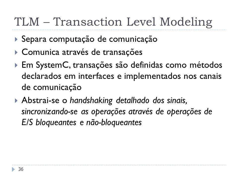 FEDERAL UNIVERSITY OF RIO GRANDE DO SUL TLM – Transaction Level Modeling 36 Separa computação de comunicação Comunica através de transações Em SystemC, transações são definidas como métodos declarados em interfaces e implementados nos canais de comunicação Abstrai-se o handshaking detalhado dos sinais, sincronizando-se as operações através de operações de E/S bloqueantes e não-bloqueantes