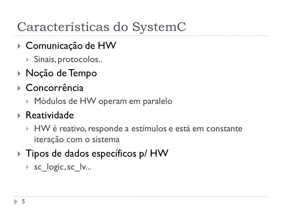 FEDERAL UNIVERSITY OF RIO GRANDE DO SUL Características do SystemC 5 Comunicação de HW Sinais, protocolos..