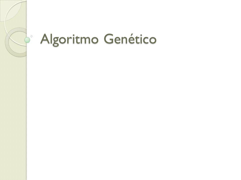 Proposto por John Holland(1975) Metáfora Inspiração na Teoria da Evolução proposta por Darwin Resolução de ProblemaAlgoritmos Genéticos ProblemaAmbiente /Função de Avaliação Solução CandidataIndivíduo/Cromossomo QualidadeFitness