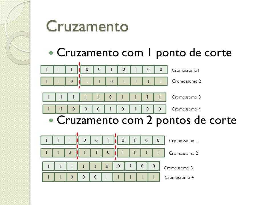 Cruzamento Cruzamento com 1 ponto de corte Cruzamento com 2 pontos de corte 1110010100 1101101111 Cromossomo1 Cromossomo 2 1111101111 1100010100 Cromo