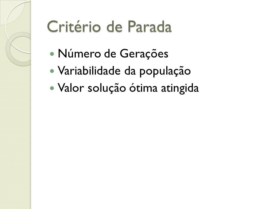 Critério de Parada Número de Gerações Variabilidade da população Valor solução ótima atingida