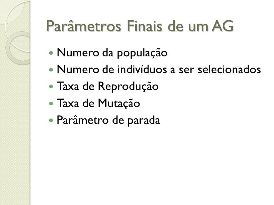 Parâmetros Finais de um AG Numero da população Numero de indivíduos a ser selecionados Taxa de Reprodução Taxa de Mutação Parâmetro de parada