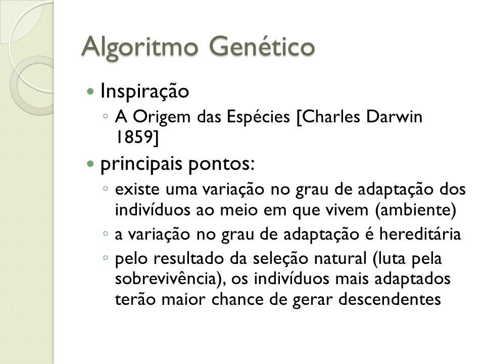 Algoritmo Genético Inspiração A Origem das Espécies [Charles Darwin 1859] principais pontos: existe uma variação no grau de adaptação dos indivíduos a