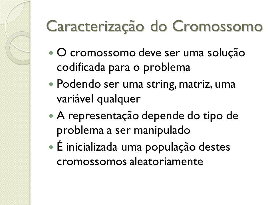 Caracterização do Cromossomo O cromossomo deve ser uma solução codificada para o problema Podendo ser uma string, matriz, uma variável qualquer A repr