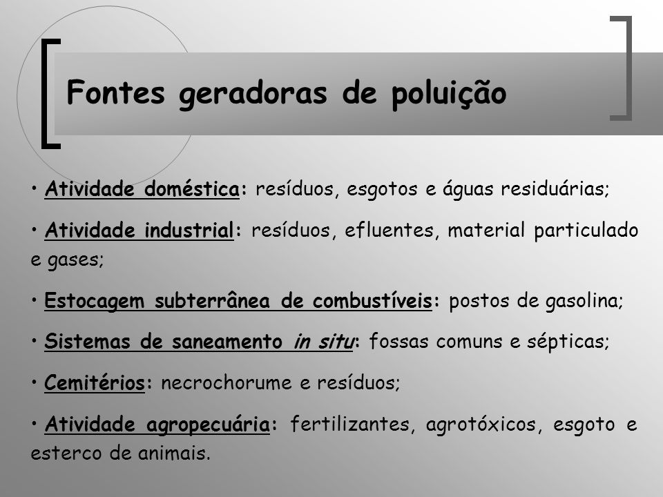 Fontes geradoras de poluição Atividade doméstica: resíduos, esgotos e águas residuárias; Atividade industrial: resíduos, efluentes, material particula
