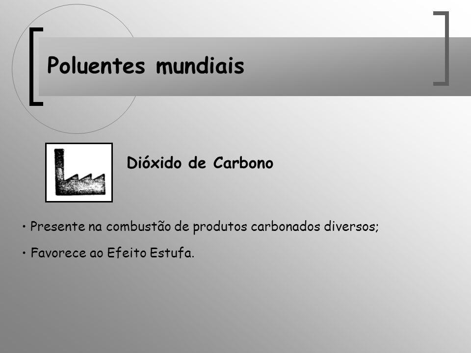 Poluentes mundiais Dióxido de Carbono Presente na combustão de produtos carbonados diversos; Favorece ao Efeito Estufa.