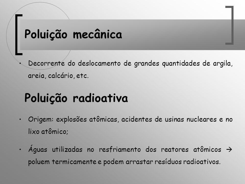 Poluição mecânica Decorrente do deslocamento de grandes quantidades de argila, areia, calcário, etc. Poluição radioativa Origem: explosões atômicas, a