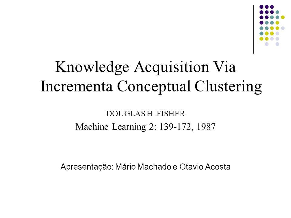 2 Sumário Background Cobweb Utilidade de Categoria Operadores Inclusão de objeto em cluster existente; Criação de novo cluster Intercalação Divisão Avaliação do Cobweb