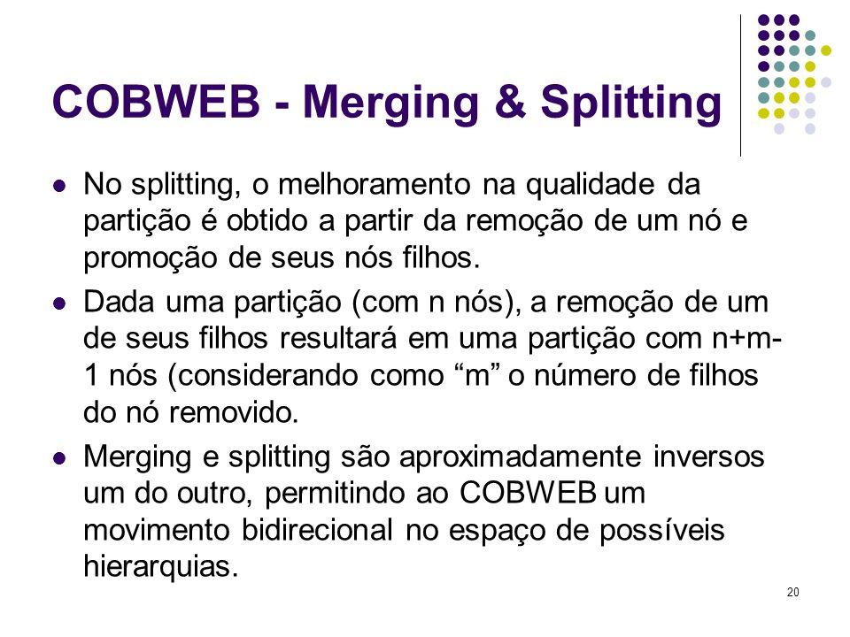 20 COBWEB - Merging & Splitting No splitting, o melhoramento na qualidade da partição é obtido a partir da remoção de um nó e promoção de seus nós filhos.