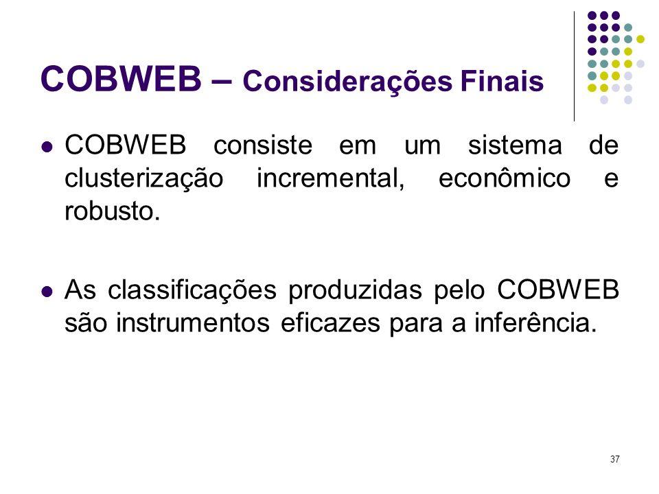 COBWEB – Considerações Finais COBWEB consiste em um sistema de clusterização incremental, econômico e robusto. As classificações produzidas pelo COBWE